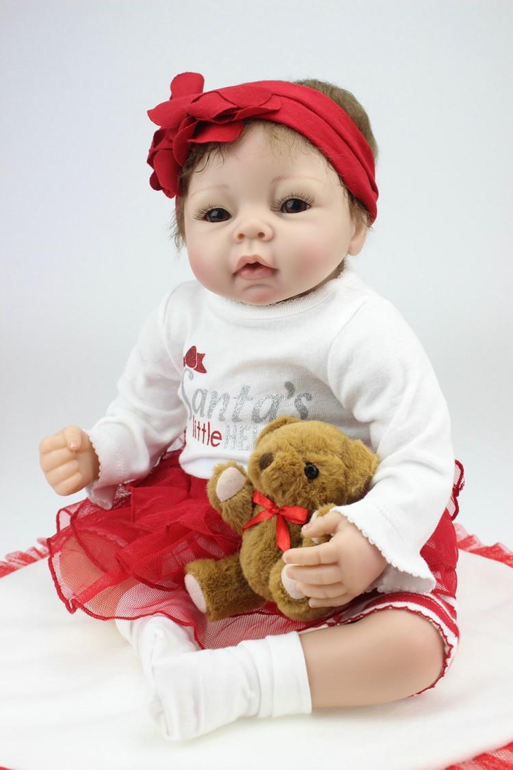 22 Inches Soft Silicone Reborn Baby Dolls Realistic Hobbies Handmade Brinquedos Newborn Doll Bebe Bjd Doll Reborn Bbonecas