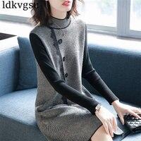 Elegant Long sleeved Lace stitching Knit Dress Autumn Winter Women Sweater Dress 2019 New Retro Women's Clothing V196