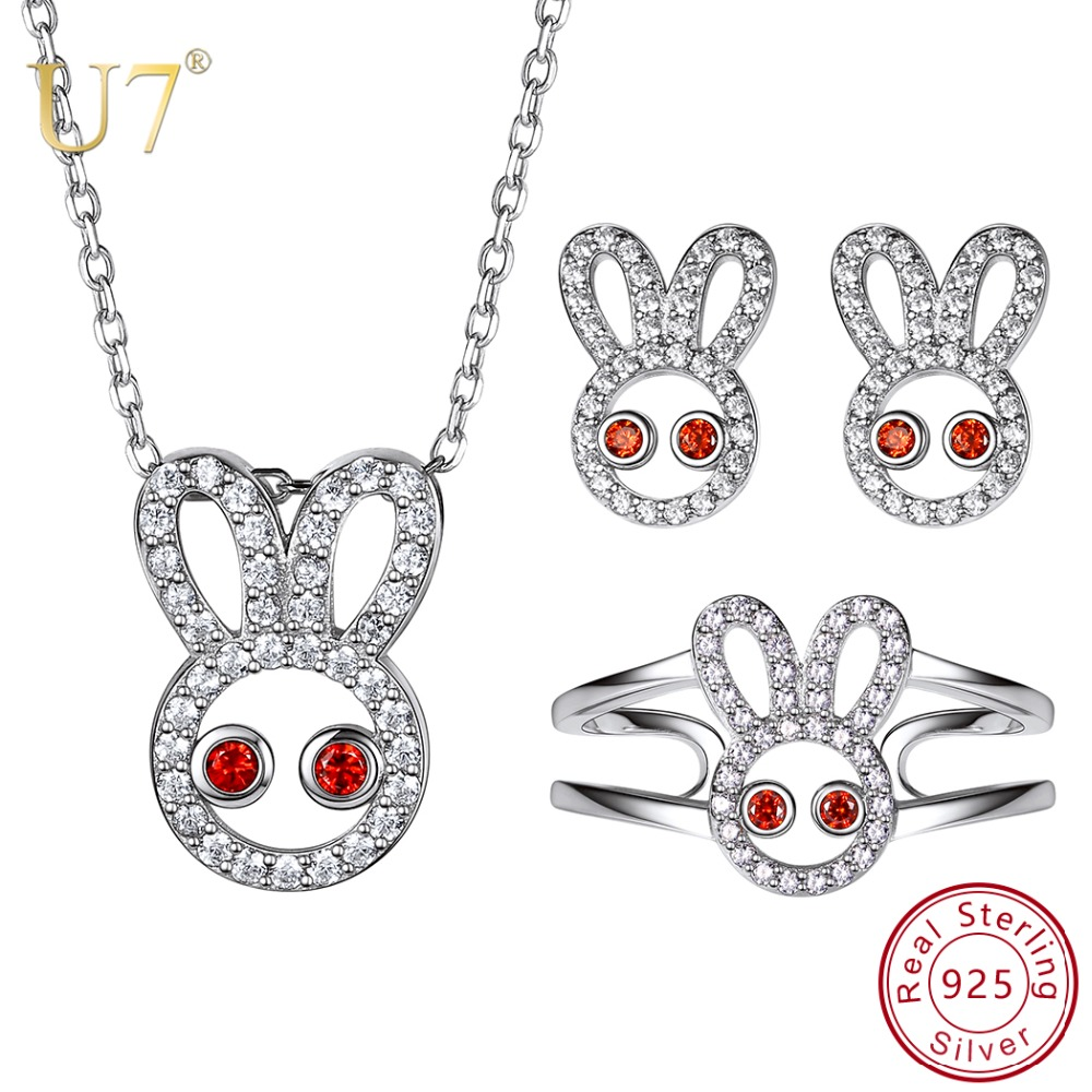 U7 925 Sterling Silver Rabbit Necklace Ring Earrings Jewelry Sets High Quality Cubic Zirconia Women Wedding Engagement Jewelry