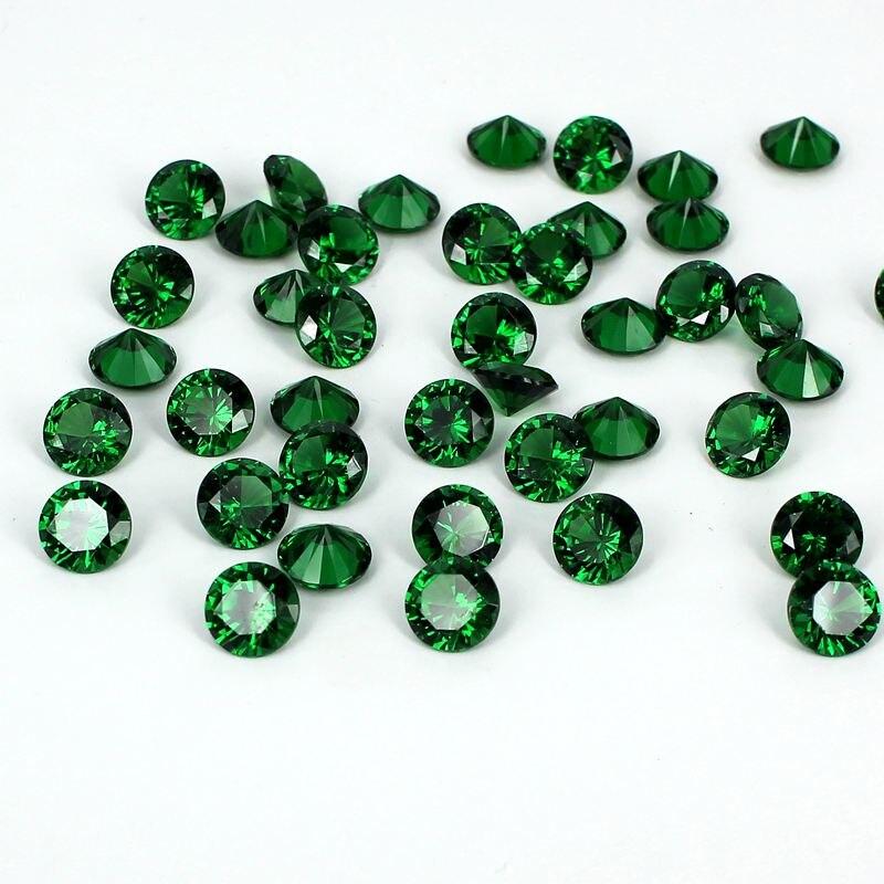 ộ_ộ ༽Cubic zirconia Piedras 4-18mm color esmeralda pointback ronda ...