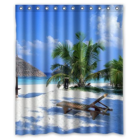 Custom Beach Chair Palm Tree Waterproof Shower Curtain Polyester Fabric  160x180cm Shower Curtains Bathroom Decor(