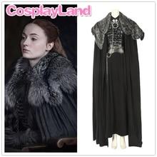 New Game of Thrones Season 8 Sansa Stark Cloak with Neck Cosplay Costume Halloween Party Jacket Coat