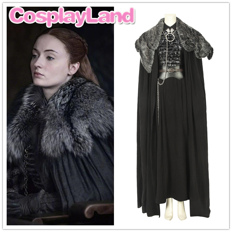 Nouveau Game of Thrones saison 8 Sansa Stark manteau avec cou Costume Cosplay Halloween fête veste Sansa Stark Cosplay manteau manteau