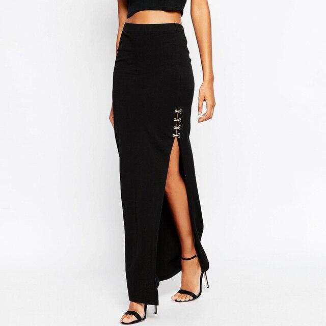 56898b29d6 Summer Collection Black Maxi Skirts High Slit Long Design Cotton Skirt Women  Sexy Empire Waist Long