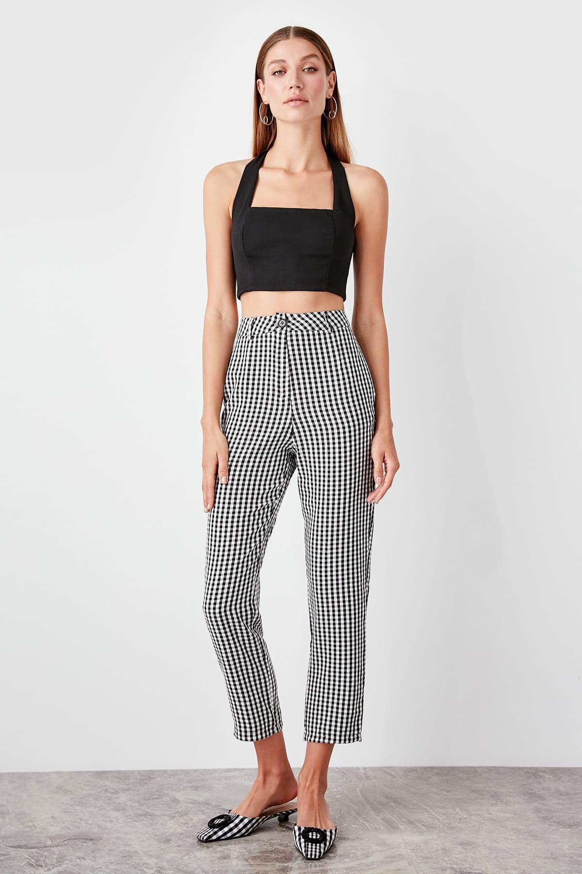 Trendyol Black Plaids Pants TWOSS19PL0119