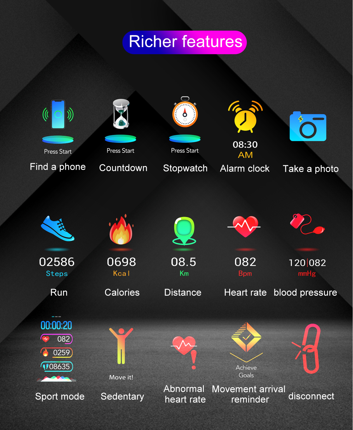 """Smartwatch 1,14"""" IP68 impermeable Android IOS 14"""
