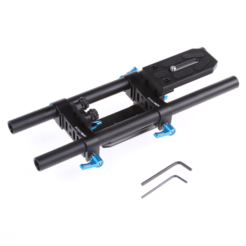 15mm Rail Rod Support System Baseplate Mount for DSLR BMCC Follow Focus