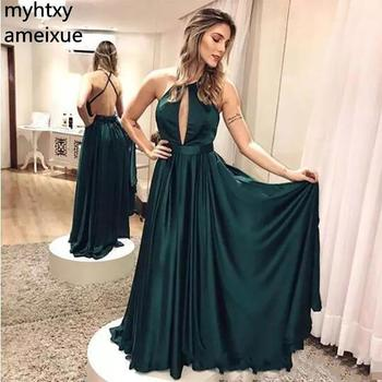 Hunter Green Sleeveless Halter Evening Dresses 2020 Sexy Hollow Out Backless Floor Length Cheap Long Party Gowns