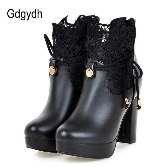 Gdgydh 2019 Dantel yarım çizmeler Kalın Yüksek Topuklu Kadın kısa çizmeler Yuvarlak Ayak Platformu Bayan Ayakkabıları Beyaz Düğün Ayakkabı Artı Boyutu