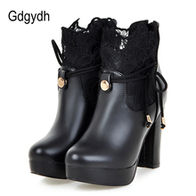 Gdgydh 2019 Lace Ankle Boots Thick High Heeled Female Short Boots Round Toe Platform Ladies Shoes White Wedding Shoes Plus Size block heeled round toe ankle boots