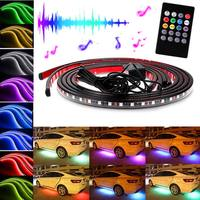 New Car RGB LED Strips Light Under Car Underglow Underbody Music Remote Control Neon Lights Lamp