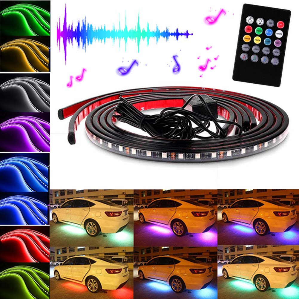 New Car RGB LED Strips Light Under Car Underglow Underbody Music Remote Control Neon Lights Lamp DXY88