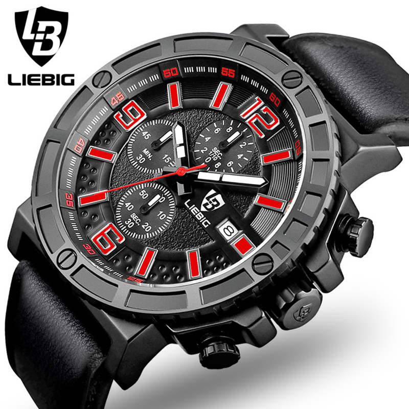 LIEBG Men Watch 2017 Top Brand Luxury Male Leather 5ATM Sport Quartz Chronograph Military Wrist Watch Men Clock montre homme luxury men watch leather wrist watch for man three time zone watches military clock male sport big quartz watch montre homme