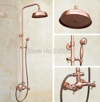 8 inch Rainfall Bathroom Shower Faucet Set Antique Red Copper Finish Wall Mounted Mixer Taps with Hand Spray lrg521