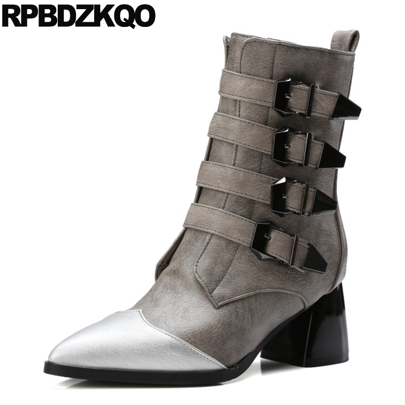 High Heel Grey Fall Motorcycle Shoes Short Women Boots Winter 2017 Pointed Toe Patchwork Chunky Designer Brand Biker Belts Ankle stud biker genuine leather fringe ankle rivet women motorcycle punk rock boots belts fall chunky shoes black high heel big brand