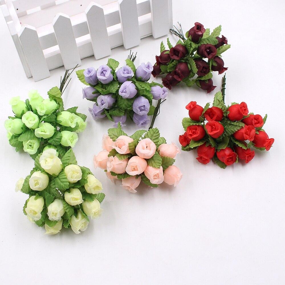 12 шт./лот искусственный цветок см 2 см шелк Высокое качество Роза свадебное оформление букета DIY ВЕНОК подарок зажим для коробки книги по искусству цветок