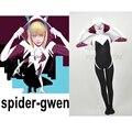 Película Coser Impresión 3D Araña Gwen Gwen Stacy Traje Spiderman Traje de Halloween Blanco Spiderman Traje Adulto Traje Zentai