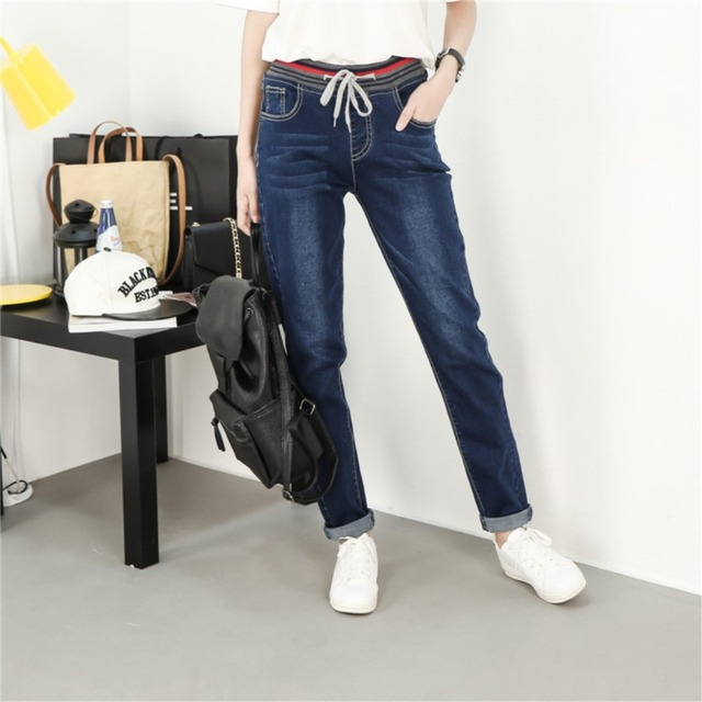 Factory direct sales Elastic high quality Large size XL-5XL woman Jeans Tie a rope fashion All-match female Jeans