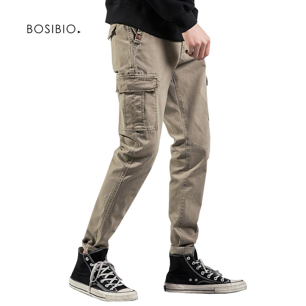Bosibio Taschen Casual Hosen Herren Baumwolle Slim Fit Khaki Hosen Frühling Herbst Männlichen Cargo Hosen G3560 Mutter & Kinder