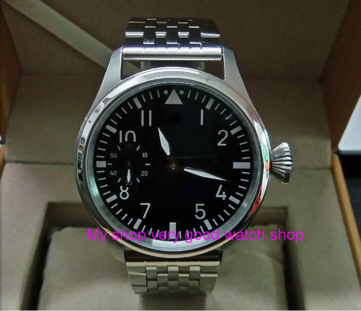 47mm parnis Black dial Asian 6497 17 jewels Mechanical Hand Wind gooseneck movement men  ...