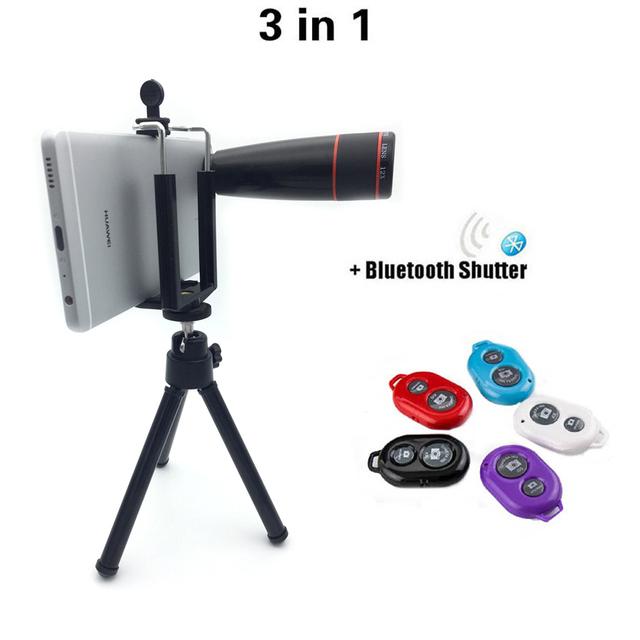 3in1 lente zoom 12x lente lentes da câmera do telefone tripé com grampo universal bluetooth do obturador para iphone 5s samsung huawei