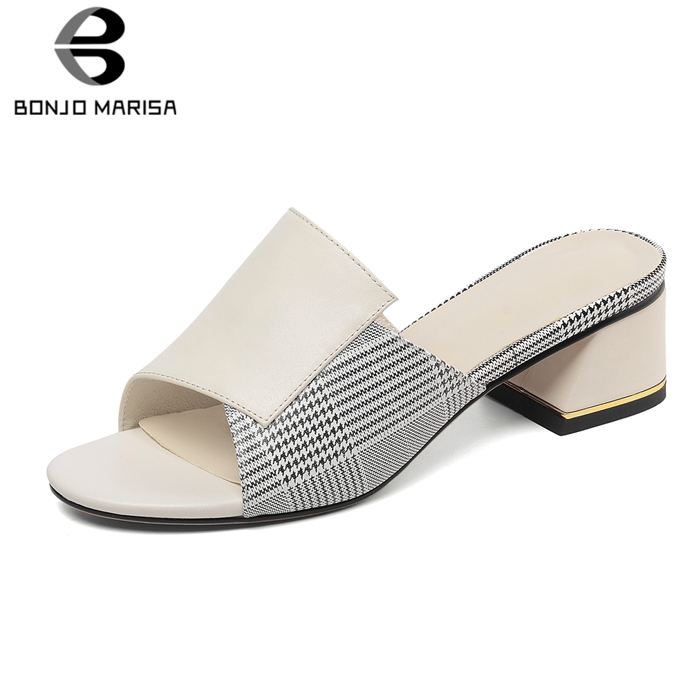 BONJOMARISA 2019 Concise Genuine Cow Leather Shoes Mules Women Summer Med Heels Slippers Women Shoes Woman Size 33-40BONJOMARISA 2019 Concise Genuine Cow Leather Shoes Mules Women Summer Med Heels Slippers Women Shoes Woman Size 33-40