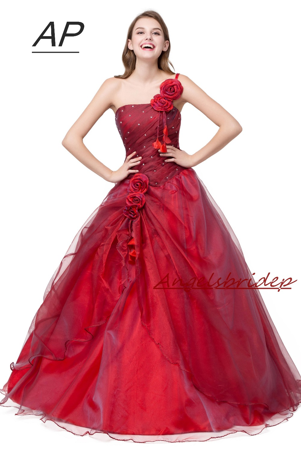 Image 3 - ANGELSBRIDEP Quinceanera Dress Red Vestidos De 15 Anos Sexy One  Shoulder Masquerade Ball Gowns Formal Party Gowns 2020 Hot Saleball  gown formalmasquerade ball gownsquinceanera dresses red