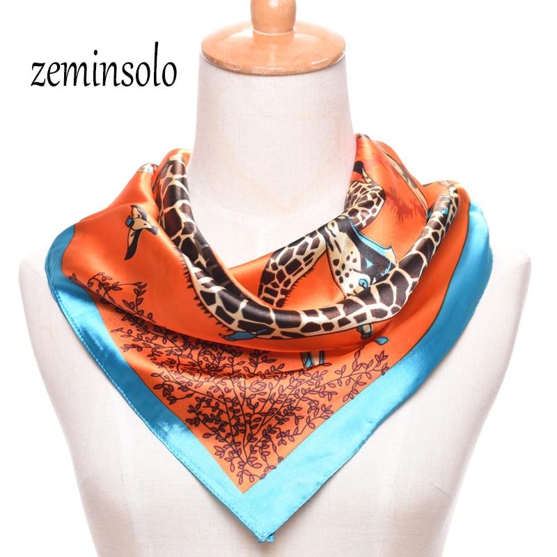 Venta caliente Satén Cuadrado Bufanda de Seda Para Las Mujeres Impreso Señoras Bufandas Para Mujeres Bandana Plaid Marca Bufandas 60 * 60 cm Hijab Chal