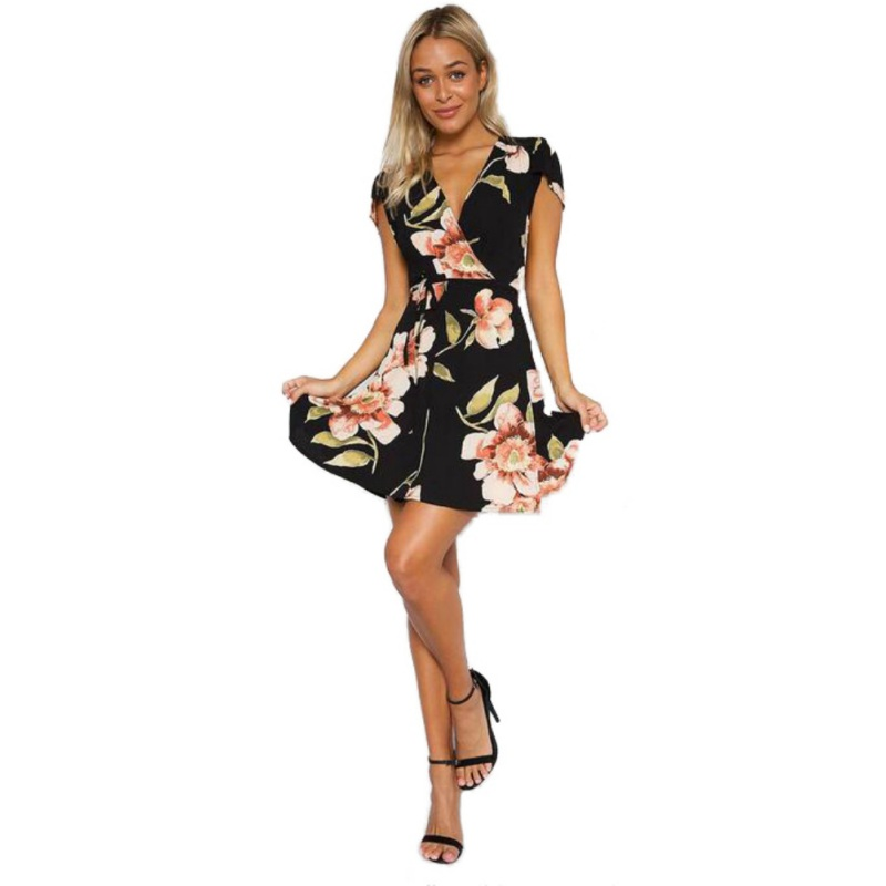 Floral Printed Summer Drapped Mini Dress Women Sexy Boho Style Deep V Neck Cape Short Sleeve Casual Dress