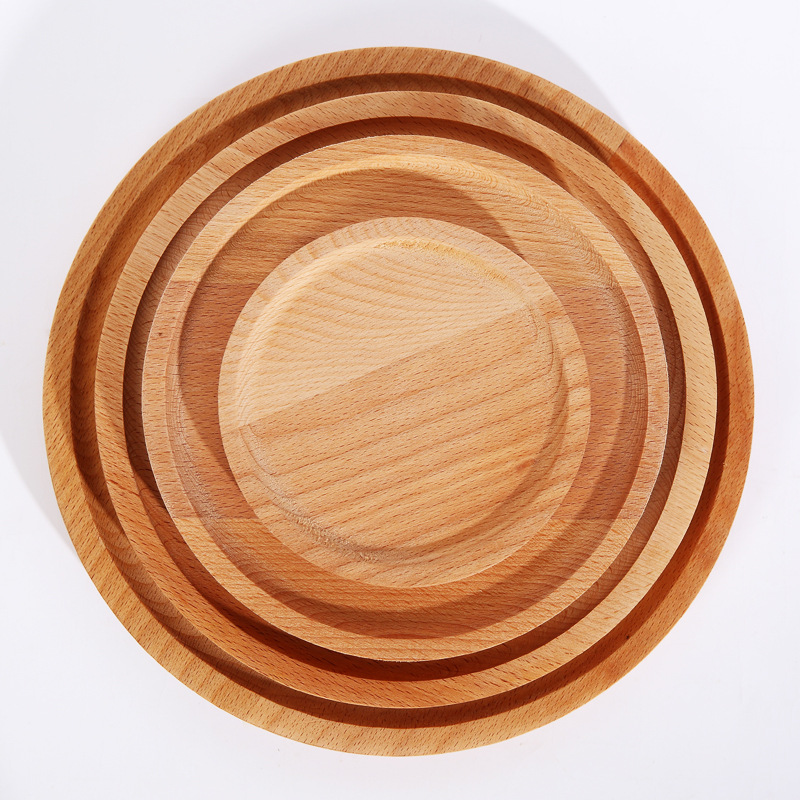 Hetre japonais assiette petit déjeuner rondin fruit pizza assiette ronde Western steak café caboteur fruit palette en bois