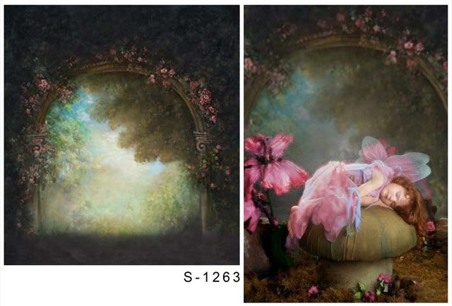 Polyester rococo painting style floral archway photography backdrop     Polyester rococo painting style floral archway photography backdrop for  photo sutdio photographic backgrounds props S