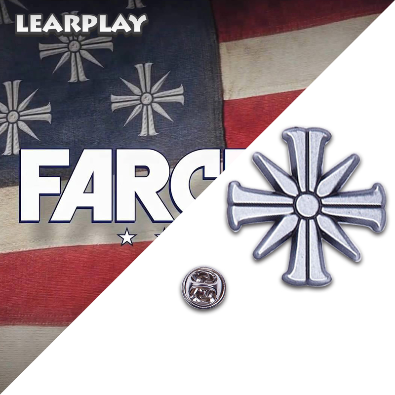 Far Cry 5 Game Eden's Gate Metal Brooch Joseph Seed Patch Pin Cosplay Costumes Accessories For PS4 Christmas Party Jewelry Props