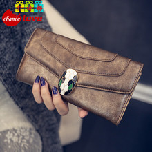 2016 Brand Lady Bags Women Wallets Fashion Snake Head Handbags Leather Wallet Purse Woman Long Three Fold Clutch Card Holder