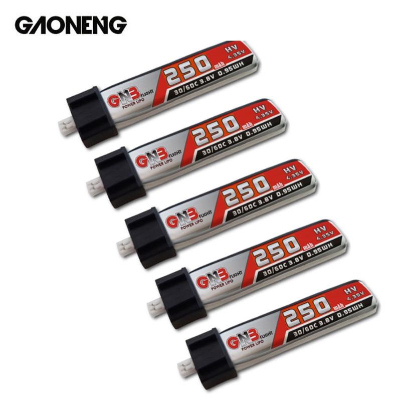 5PCS GAONENG 250mAh 3.8V 3.7V 30C/60C HV bateria Lipo para RC Nano QX Inductrix FPV Tiny7 65S Mobula7 Cine Grito BetaFPV Zangão