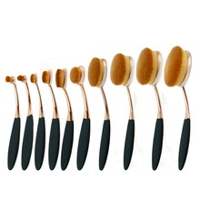 10pc Rose Gold Make Up Brushes Tooth-Shape Foundation Powder Brush Oval Makeup Brush Set Multipurpose Professional Cosmetics Kit