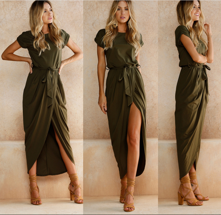 Sexy Asymmetrical Summer Slim Dress Lady Outfit High Split Neck Casual Long Maxi Bohemian Solid Women's Retro Dresses With Belt