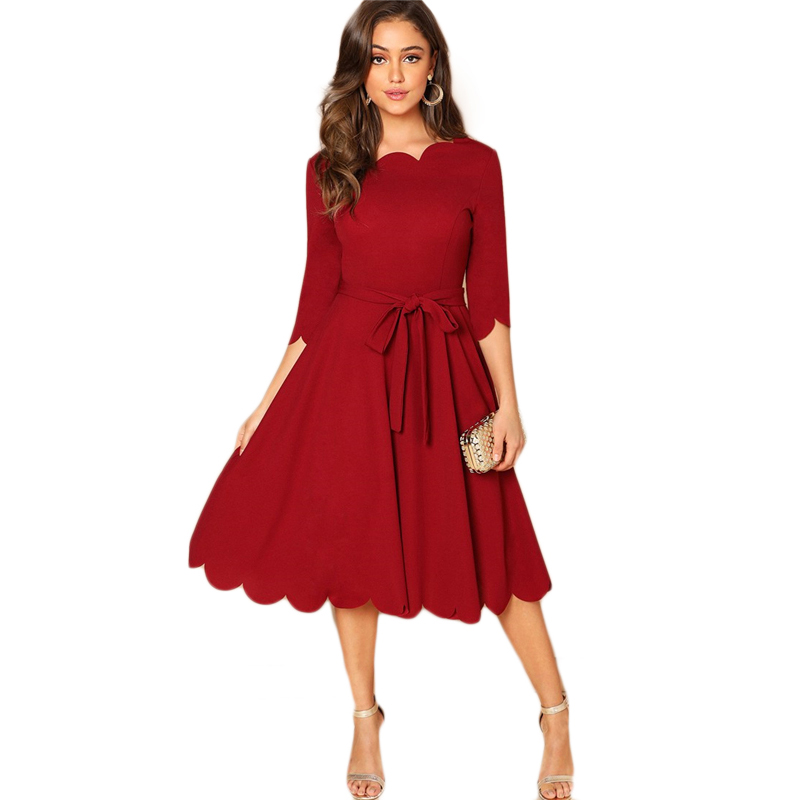 Sheinside Elegant Scallop Edge Bodycon Dress Women Burgundy 3/4 Sleeve Solid Pencil Dresses Woman Party Night Ladies Midi Dress 39
