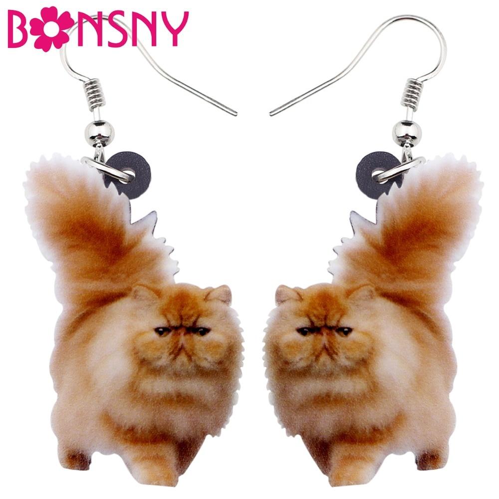Bonsny Acrylic Fluffy Fatty Cat Kitten Earrings Big Long Dangle Drop Lovely Animal Jewelry For Women Girl Ladies Kids Gifts Bulk
