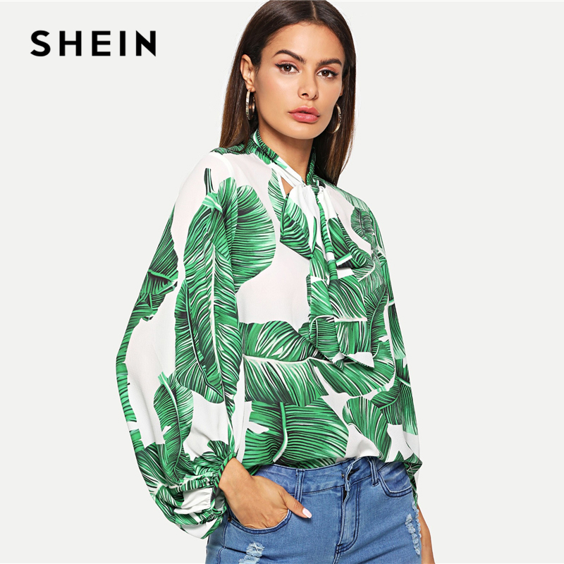 65656f1ef8 SHEIN Green Tropical Jungle Leaf Print Tie Neck Top Beach Vacation Stand  Collar Bishop Sleeve Blouse Women Autumn Bohemian Tops