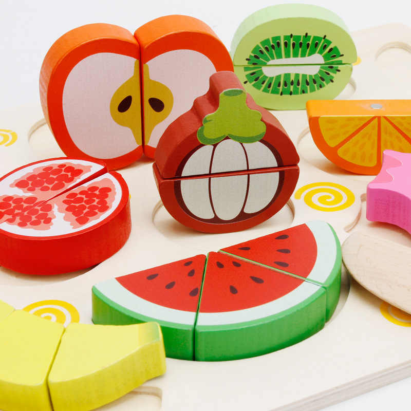 MWZ Children Pretned Play Toy Magnetic Wooden Cutting Fruit Vegetable Simulation Food Pretend Kid Educational Game Toys Gift