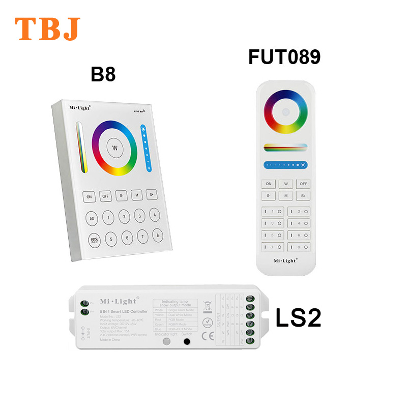 Mi.Light Touch Panel 5 in 1 led remote <font><b>controller</b></font> / 2.4G wireless FUT089 B8 <font><b>LS2</b></font> 8 Zone RGB+CCT RF dimmer for strip light bulb image