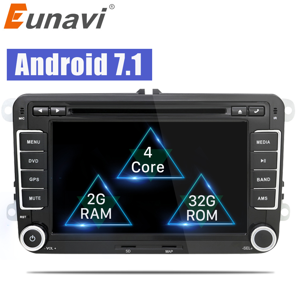 Eunavi 2 Din Android 7.1 8.1 Car DVD Player Audio Radio GPS navi For VW GOLF 6 Polo Bora JETTA B6 PASSAT Tiguan SKODA OCTAVIA feeldo new 8 ultra slim android 6 0 quad core car media player with gps navi radio for vw golf polo jetta skoda octavia gift