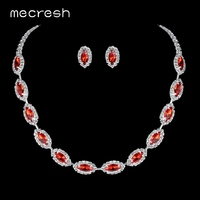 Mecresh Red Crystal Bridal Wedding   Jewelry     Sets   Rhinestone Water Drop African Beads Necklace   Sets   for Party Prom Christmas TL030