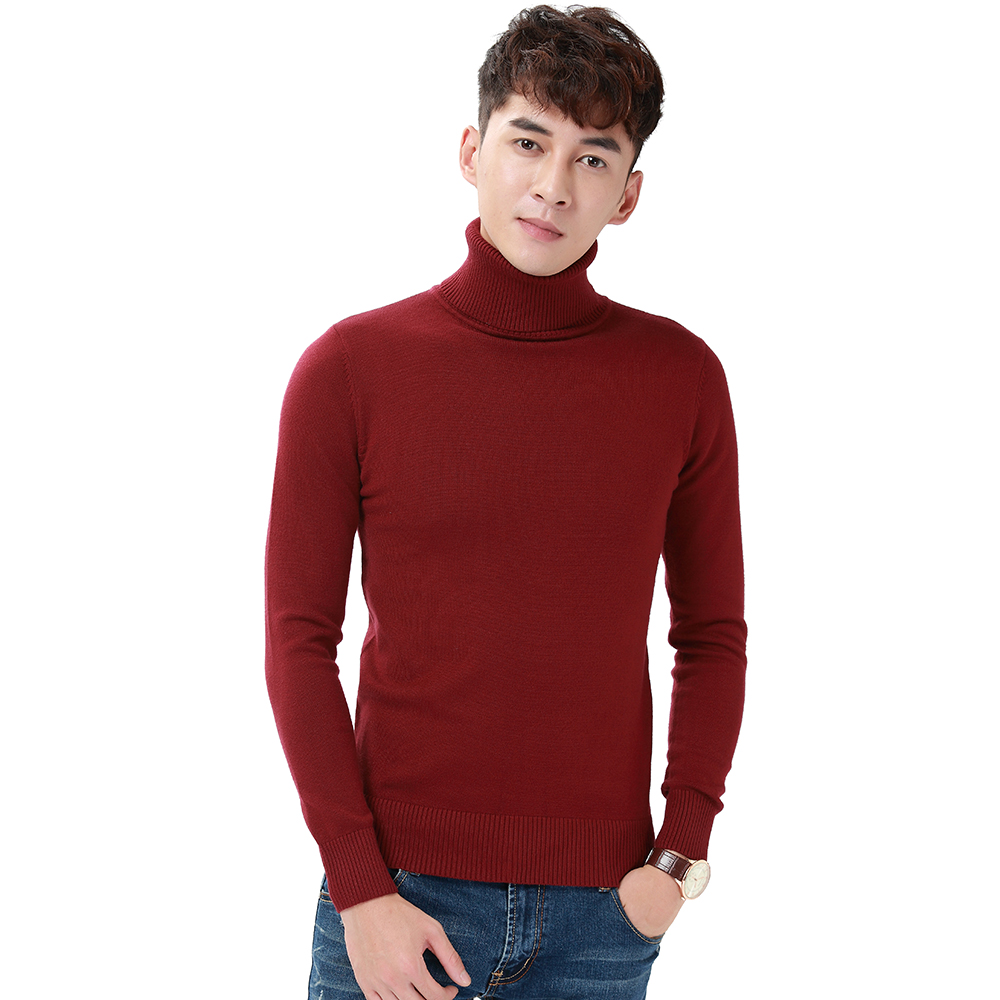 Harajuku Men Solid Color Turtleneck Loose Brief Thermal Thickening Retro Sweater Male Handsome Knitted Jumper And Pullover (8)