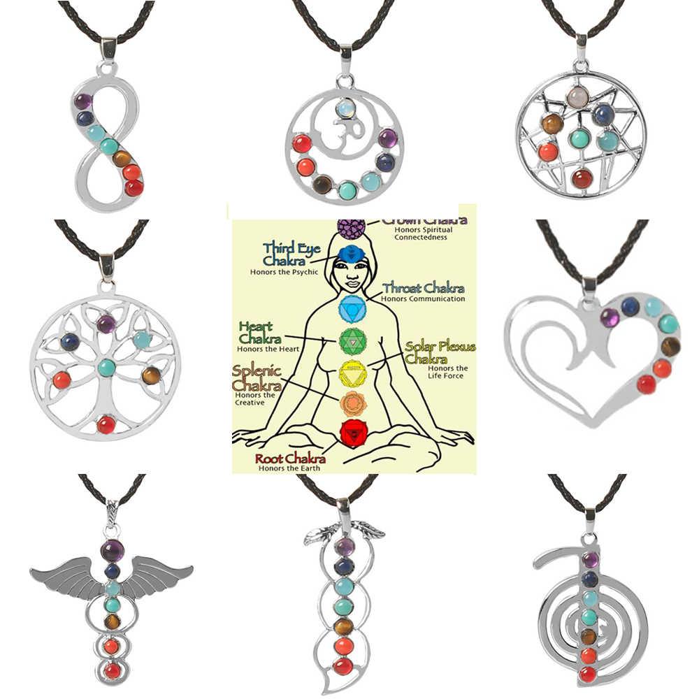 fe7f93f5e Love Heart Infinity Wings Seven Beads Natural Quartz Gem Stone Pendant  Necklace Meditation Healing Point Chakra