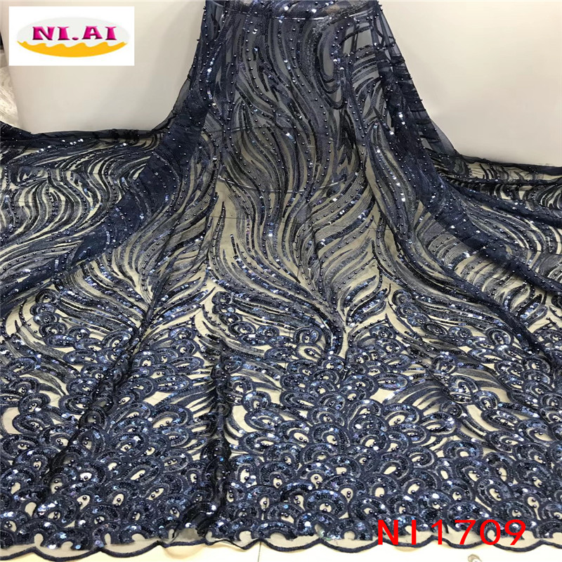 Gold 2019 New Design African Lace Fabric Wholesale French Lace Fabric High Quality Nigerian Tulle Sequins Lace Fabric NI1709