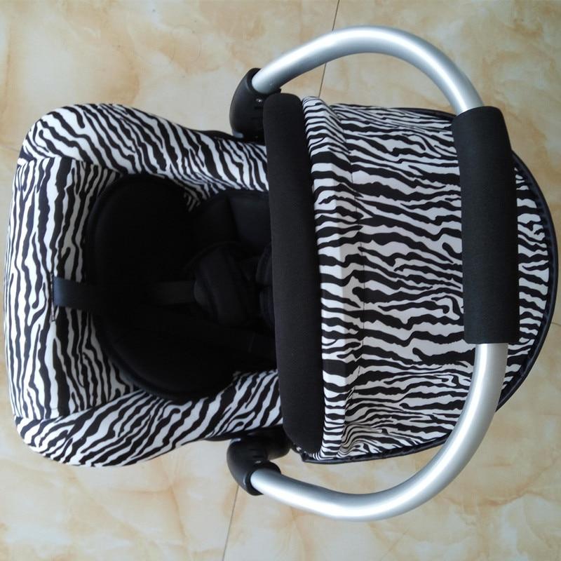 Svartvita Stripes Barnsäte Newbore Zebra Mönster Baskert Bil - Barnsäkerhet - Foto 3