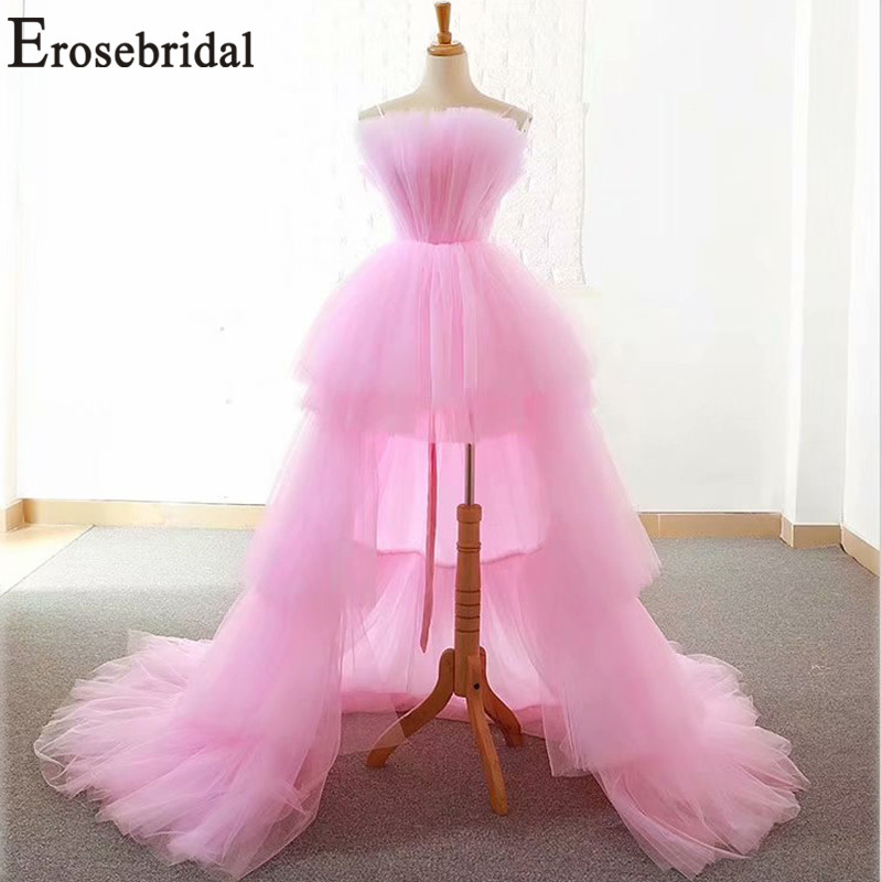 Erosemariée nouveauté 2019 haut/bas robes de bal longue bal rose robe à volants Illusion robes de gala pour fille robe de soirée
