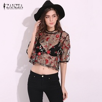 ZANZEA Women 2017 Summer Sexy Blouse Tops Vintage Mesh Floral Embroidery Blusas Shirts Casaul Loose O