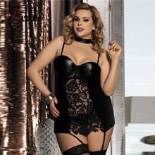 Comeondear Ropa Interior Mujer Sexy Erotica Plus Size Porn Faux Leather Women Leather Lingerie RJ80385 Lace Latex Lingerie Woman